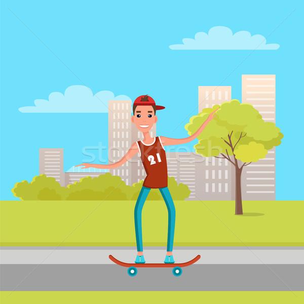 Tinédzser gördeszkázás görkorcsolyázó fiatalember korcsolya gördeszkás Stock fotó © robuart