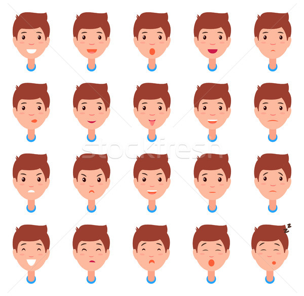 Set of Man Faces, Character Constructor Emotions Stock photo © robuart