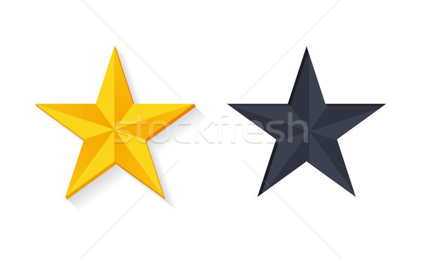 Gold Stars in 3D Design Vector Golden Silver Color Stock photo © robuart