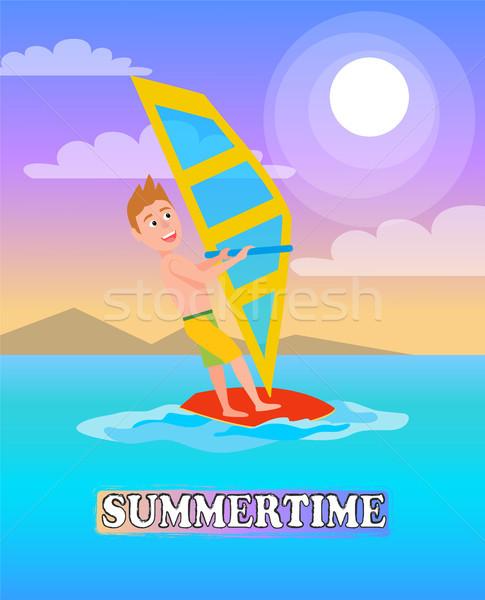 Summertime Poster Windsurf Boy, Windsurfing Sport Stock photo © robuart
