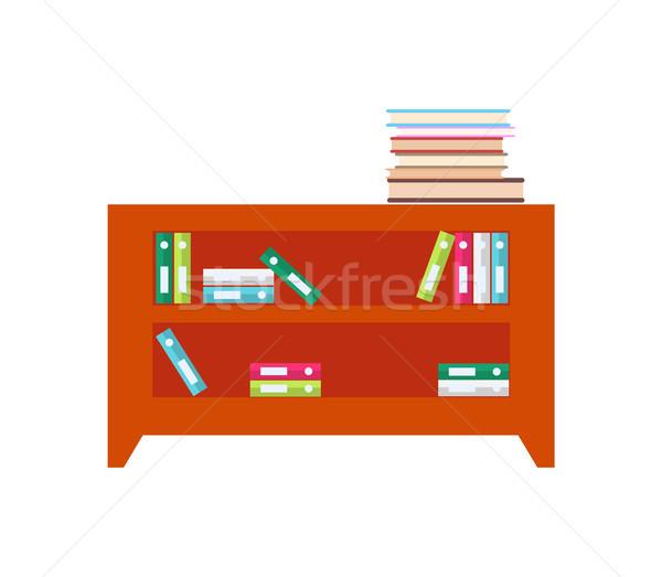Placard plein livres dossiers documents bois Photo stock © robuart