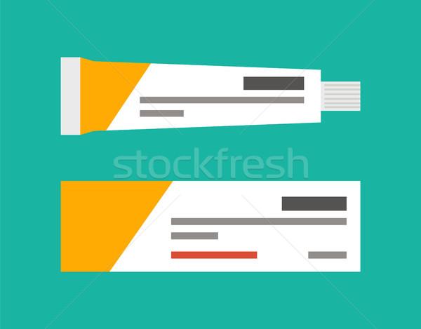 Cső kenőcs testápoló gyönyörű egészséges papír Stock fotó © robuart