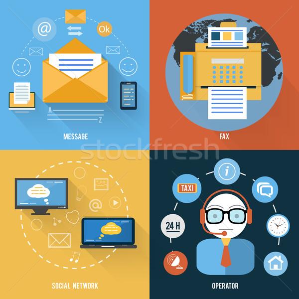 Un message fax réseau social soutien icônes design Photo stock © robuart