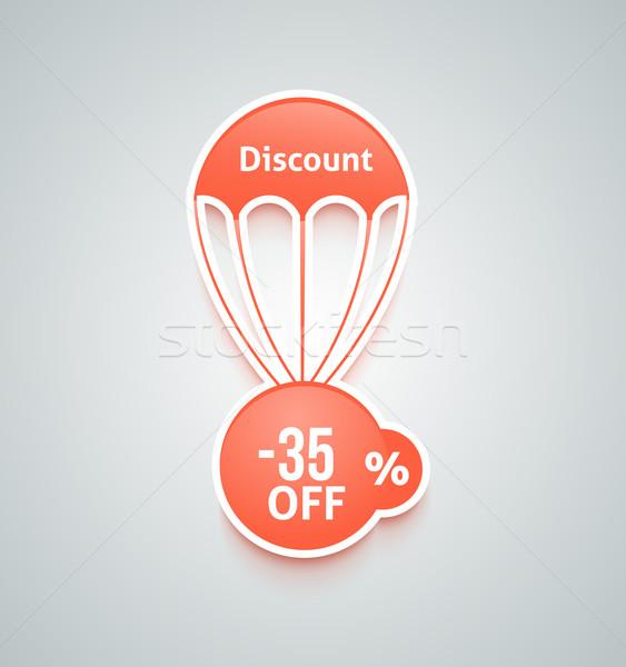 Stockfoto: Korting · parachute · ingesteld · papier · Rood · tekst