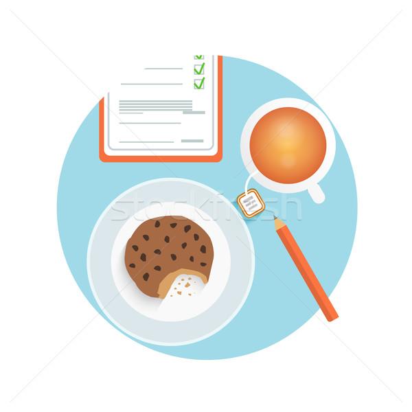 Zdrowych szybki przekąska kubek kawy suchar Zdjęcia stock © robuart