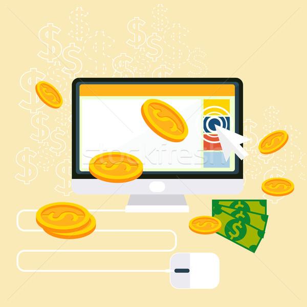 ストックフォト: クリック · インターネット · 広告 · モデル