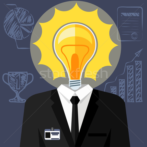Bulb headed man. Business man in suit Stock photo © robuart