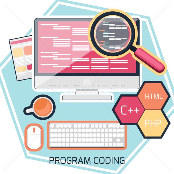 Ontwerp programma codering computer internet teken Stockfoto © robuart