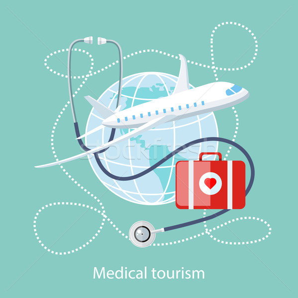 Medical Tourism. Icon of Traveling and Treatment Stock photo © robuart