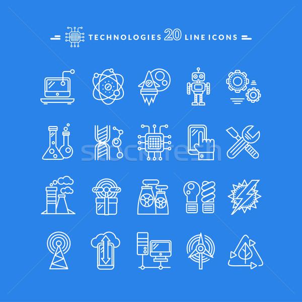 Technologies White Icons Stock photo © robuart