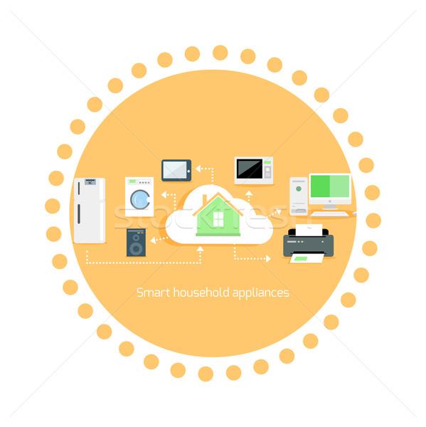 Okos háztartás készülékek ikon terv otthon Stock fotó © robuart