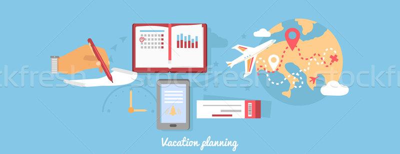 Vacation Planning Icon Flat Isolated Round Stock photo © robuart