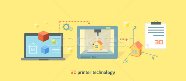 Impressora tecnologia ícone projeto 3D futuro Foto stock © robuart