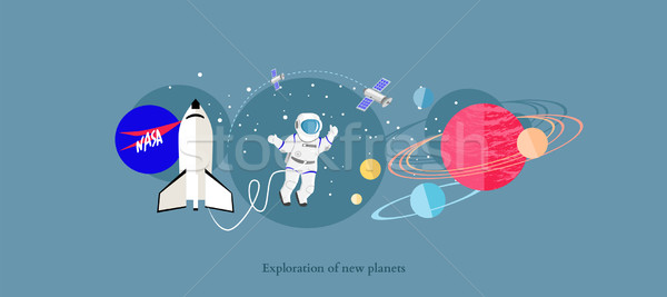 Exploration New Planets Icon Flat Isolated Stock photo © robuart