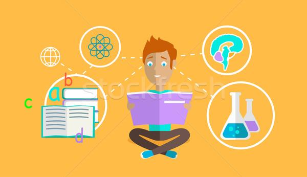 Uomo apprendimento capacità design strategia istruzione Foto d'archivio © robuart