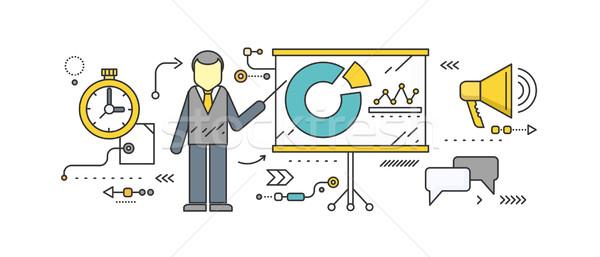 Pronóstico icono estilo negocios crecimiento gráfico Foto stock © robuart