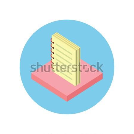 Stockfoto: Notebook · icon · ontwerp · geïsoleerd · nota · papier