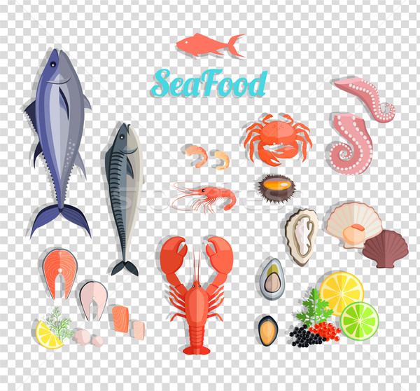 Seafood Set Design Flat Fish and Crab Stock photo © robuart