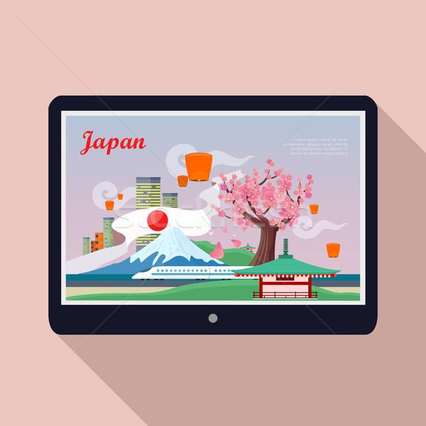 Japan Landmark on Tablet Screen Stock photo © robuart