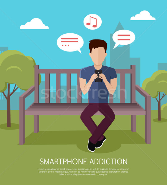Smartphone Addiction Banner Stock photo © robuart