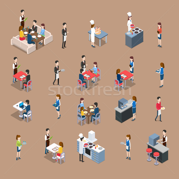 Set of Restaurant Icons in Isometric Projection  Stock photo © robuart