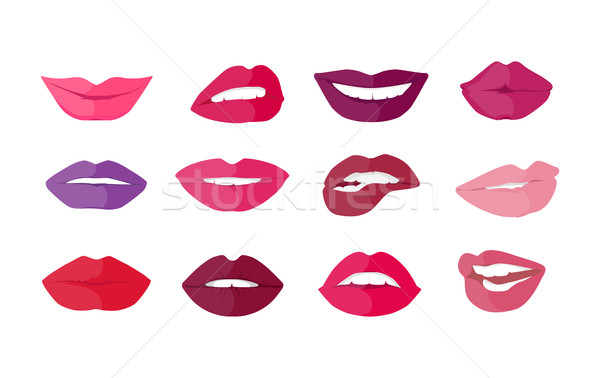 Set of Lips with Expression Emotions Stock photo © robuart