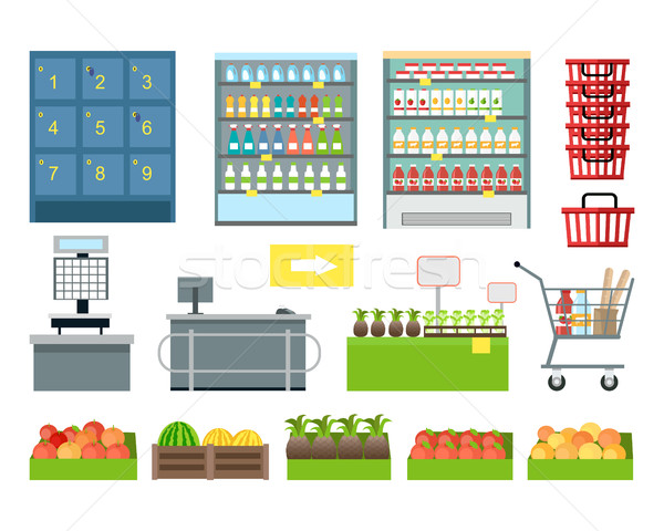 Set of Supermarket Furniture and Equipment Vector. Stock photo © robuart