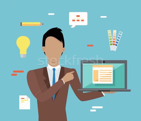 Web design seo infografika férfi barna üzlet Stock fotó © robuart
