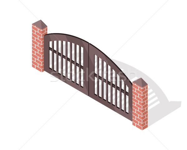 Metal portão vetor ícone isométrica projeção Foto stock © robuart