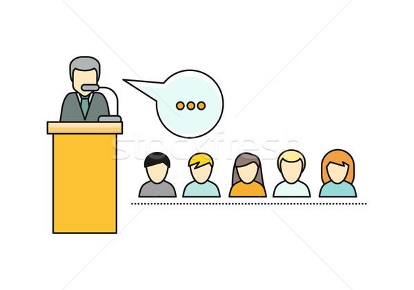 Wykład stylu poziomy wektora wykładowca charakter Zdjęcia stock © robuart