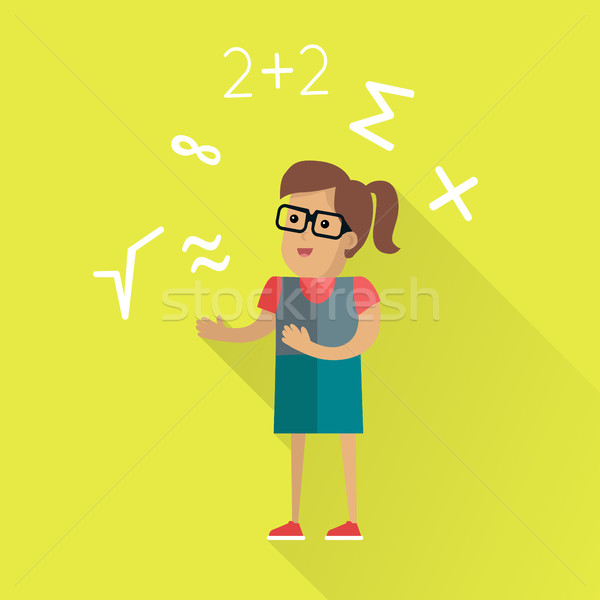 Matematikai terv vektor női karakter szemüveg Stock fotó © robuart