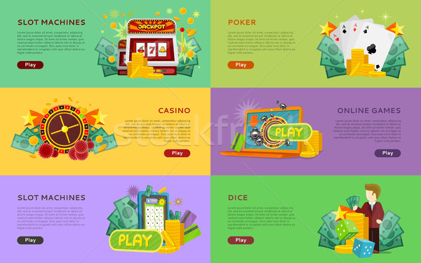 Slot Machines, Pocker, Online Games, Dice Banners. Stock photo © robuart