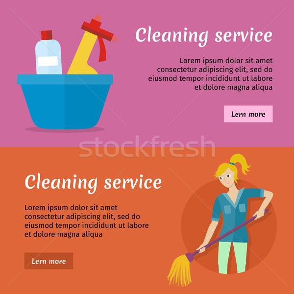 Czyszczenia usługi reklama karty zestaw plakat Zdjęcia stock © robuart