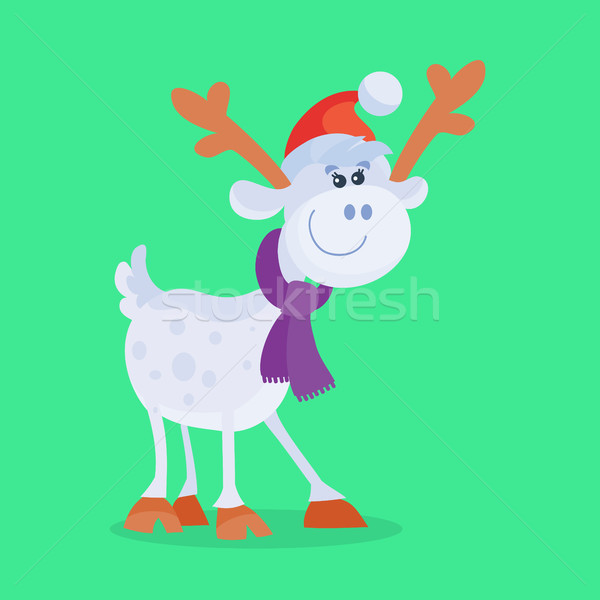 Funny Cartoon Reindeer Flat Vector Icon Stock photo © robuart