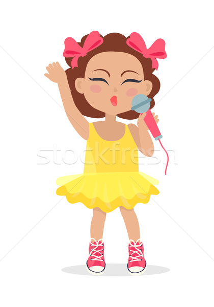 Singing Girl with Bows on Head. Little Singer. Stock photo © robuart