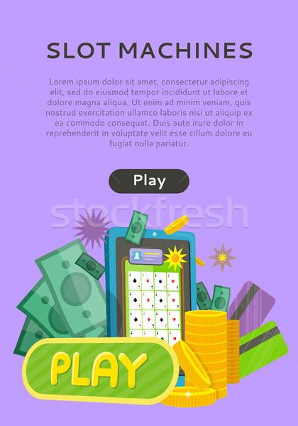 Játékautomata háló szalag izolált játék gomb Stock fotó © robuart