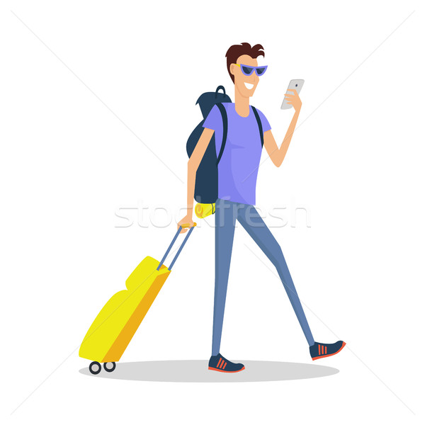 Man with Luggage Makes Selfie. Summer Vacation Foto stock © robuart
