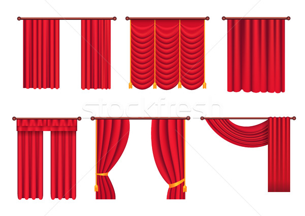 Red Drapes with Gold Tieback and Lambrequin Vector Stock photo © robuart