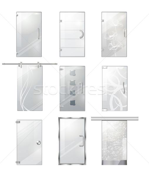透明な ガラス ドア コレクション 白 ベクトル ストックフォト © robuart