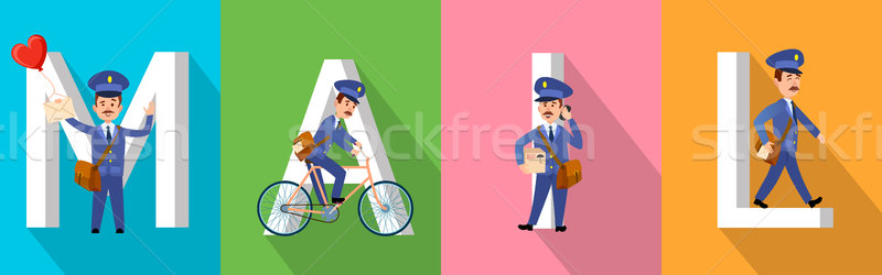 MAIL Banner with Letters and Postman Character Set Stock photo © robuart