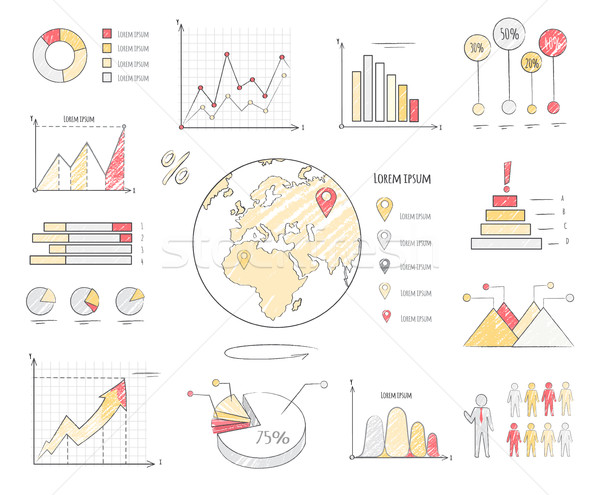 Earth Population Statistics Charts Illustration Stock photo © robuart