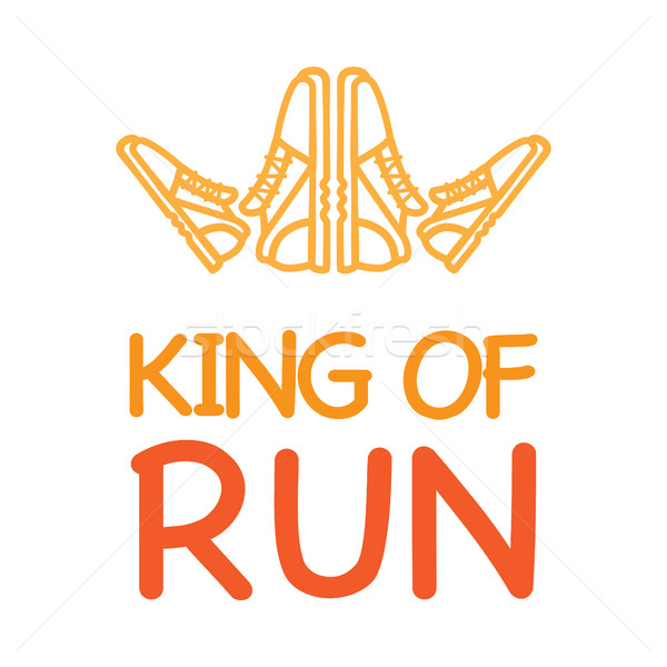King of Run Motto with Logo Crown from Sneakers Stock photo © robuart