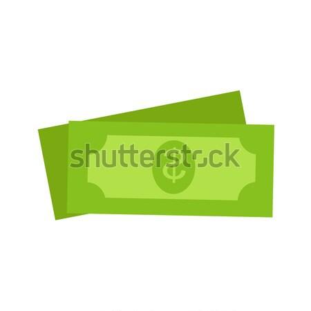 Two Green Dollars United States Money Icon Set Stock photo © robuart