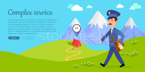 Complex Service Vector Web Banner with Postman Stock photo © robuart
