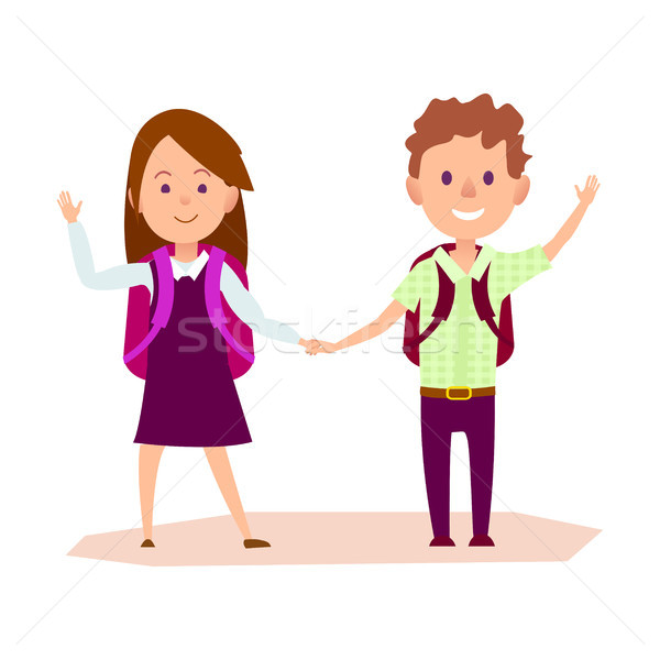 Schoolgirl and Schoolboy Stands and Waves Hand Stock photo © robuart