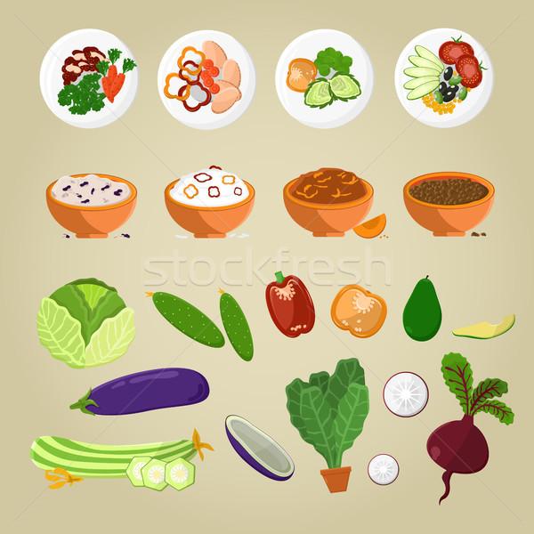 Foto d'archivio: Cibo · vegetariano · piatti · verdura · lastre · verde