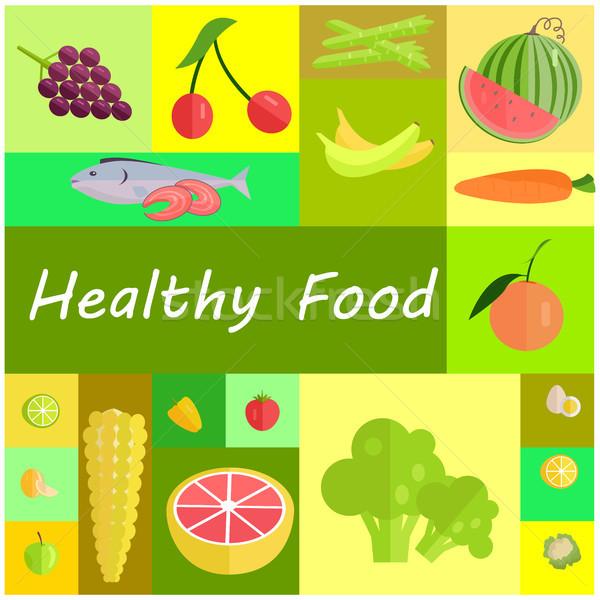 Sağlıklı organik gıda karikatür ayarlamak lezzetli Stok fotoğraf © robuart