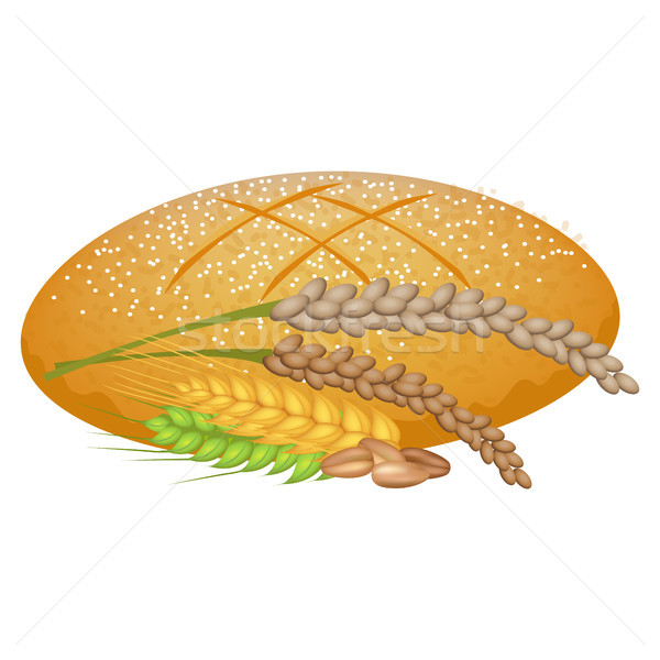Wheat Bread Loaf with Cereal Sticks on White. Stock photo © robuart