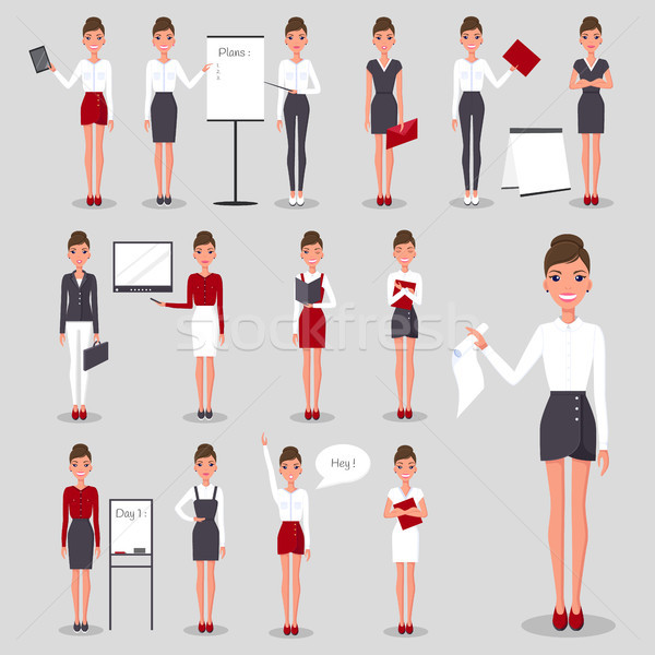 Modern Businesswoman at Work Illustrations Set Stock photo © robuart
