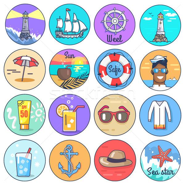 Set icone multipla marine cerchio Foto d'archivio © robuart